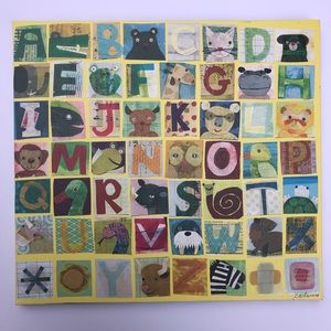 Alphabet animal canvas print for kids room